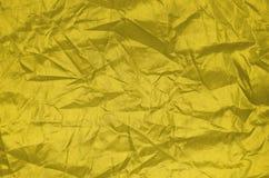 Textura de nylon da folha do enrugamento do ouro Imagem de Stock