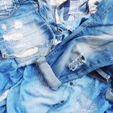 Textura de pantalones vaqueros viejos Fotografía de archivo libre de regalías