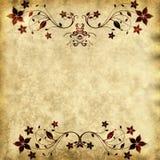 Textura de papel velha com frame floral imagens de stock