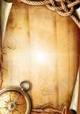 Textura de papel velha com um compasso e uma corda Imagem de Stock Royalty Free