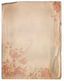 Textura de papel velha do fundo com um projeto floral ilustração royalty free