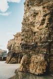 Textura de piedra de la playa de Las Catedrales, España imagen de archivo