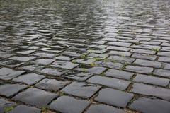 Textura de piedra mojada del pavimento fotografía de archivo
