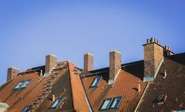 textura de telhas do telhado, cor vermelha Foto de Stock