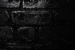Textura de uma parede de tijolo preta Fotografia de Stock