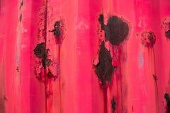 Textura de uma parede vermelha do ferro com oxidação Fotos de Stock Royalty Free