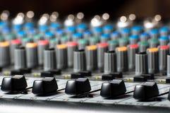 Textura de un mezclador audio de sonidos Imagenes de archivo