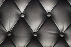 Textura de un sofá de cuero negro Foto de archivo libre de regalías