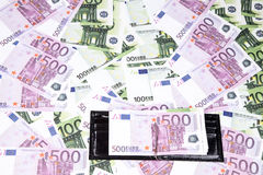 Textura de un y cinco centenares del euro, cartera Foto de archivo libre de regalías