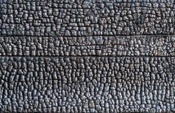 Textura de una pared de madera quemada, primer Fotos de archivo libres de regalías