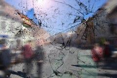 Textura de vidro quebrada Real?stico rachou o efeito de vidro, elemento do conceito fotos de stock