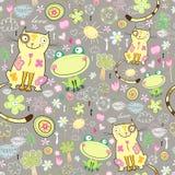 Textura del amor de gatos y de ranas Fotos de archivo libres de regalías