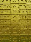 Textura del fondo de la pared del templo de la arquitectura del arte del oro imagen de archivo libre de regalías