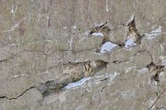 Textura del fondo de la pared yeso blanco en grietas Imagen de archivo