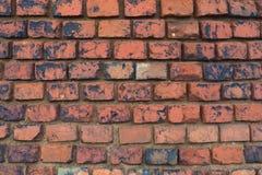 Textura del fondo de una pared de ladrillo arruinada vieja Fotos de archivo libres de regalías