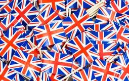 Textura del fondo - un revoltijo de los palillos británicos de la bandera de Union Jack imágenes de archivo libres de regalías