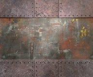 Textura del metal con el fondo de los remaches Imagen de archivo libre de regalías