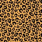 Textura del modelo del leopardo que repite la piel negra anaranjada inconsútil de la impresión de la piel libre illustration