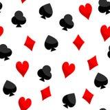 Textura del naipe inconsútil de las espadas de los clubs de los diamantes de los corazones Imagen de archivo libre de regalías
