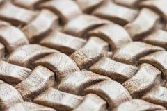 Textura del primer de cuero de mimbre marrón auténtico Foto de archivo libre de regalías