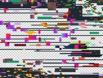 Textura del ruido de la interferencia del vector aislada Pantalla de ordenador de Glitched Decaimiento de la señal de la televisi stock de ilustración