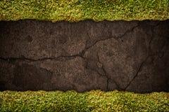 Textura del suelo con el marco de la hierba Foto de archivo