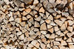 Textura del Woodpile de la madera de abedul Imagen de archivo
