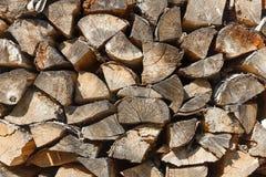 Textura del Woodpile de la madera de abedul Imagenes de archivo