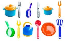 Textura - diversos platos plásticos del bebé Imágenes de archivo libres de regalías