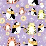 Textura divertida con los gatos y los pingüinos Fotografía de archivo