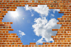 Textura do céu da parede de tijolo vermelho Foto de Stock Royalty Free