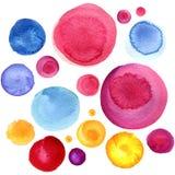 Textura do círculo da aquarela Elementos redondos para o projeto Fundo tirado mão dos círculos coloridos ilustração do vetor