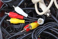 Textura do cabo Cabografa o fundo Cabo do cabo Obstrua dentro cabos audio do rca do vídeo Foto de Stock
