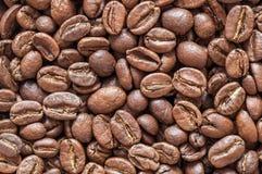 Textura do close up dos feijões de café Fundo Imagens de Stock Royalty Free