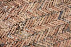 Textura do detalhe do assoalho dos tijolos de vermelhos de imperador Tiberius da casa de campo imagem de stock
