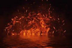 Textura do fogo com reflexão na água Chamas no fundo preto isolado Textura para a bandeira, inseto, cartão ilustração do vetor