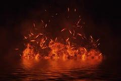 Textura do fogo com reflexão na água Chamas no fundo preto isolado Textura para a bandeira, inseto, cartão ilustração stock