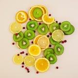 Textura do fruto Fundo de vários frutos cortados Foto de Stock Royalty Free
