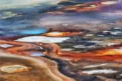 Textura do fundo da bacia da porcelana em Yellowstone fotos de stock royalty free
