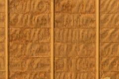 Textura do fundo da cerca amarela velha feita de folhas de metal fotografia de stock royalty free