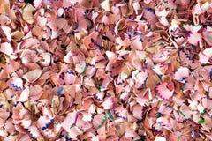 Textura do fundo de aparas de madeira coloridos Foto de Stock