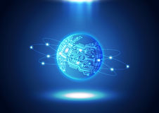 Textura do fundo do mundo da tecnologia da placa de circuito Fotos de Stock