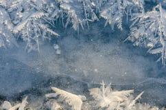 Textura do gelo no fundo azul fotos de stock royalty free