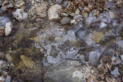 Textura do gelo no rio Imagens de Stock Royalty Free