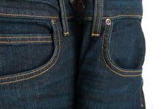 Textura do grunge da sarja de Nimes Close-up das calças de brim Foto de Stock