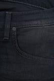 Textura do grunge da sarja de Nimes Close-up das calças de brim Imagens de Stock