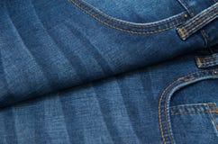 Textura do grunge da sarja de Nimes Close-up das calças de brim Fotos de Stock Royalty Free