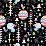 Textura do inverno das árvores e dos bonecos de neve ilustração royalty free