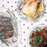 Textura do jantar de Natal ilustração royalty free
