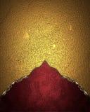 Textura do ouro com borda vermelha Elemento para o projeto Molde para o projeto copie o espaço para o folheto do anúncio ou o con Foto de Stock Royalty Free